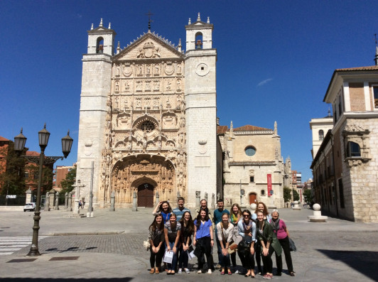 Students at site of 1550 'Great Debate about Human Rights,' the Colegio de San Gregorio, Valladolid, Spain.