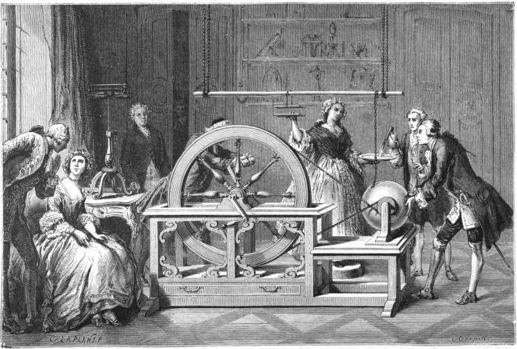 Drawing of an electrostatics experiment by English scientist Fracis Hauksbee (or Hawksbee), 1767