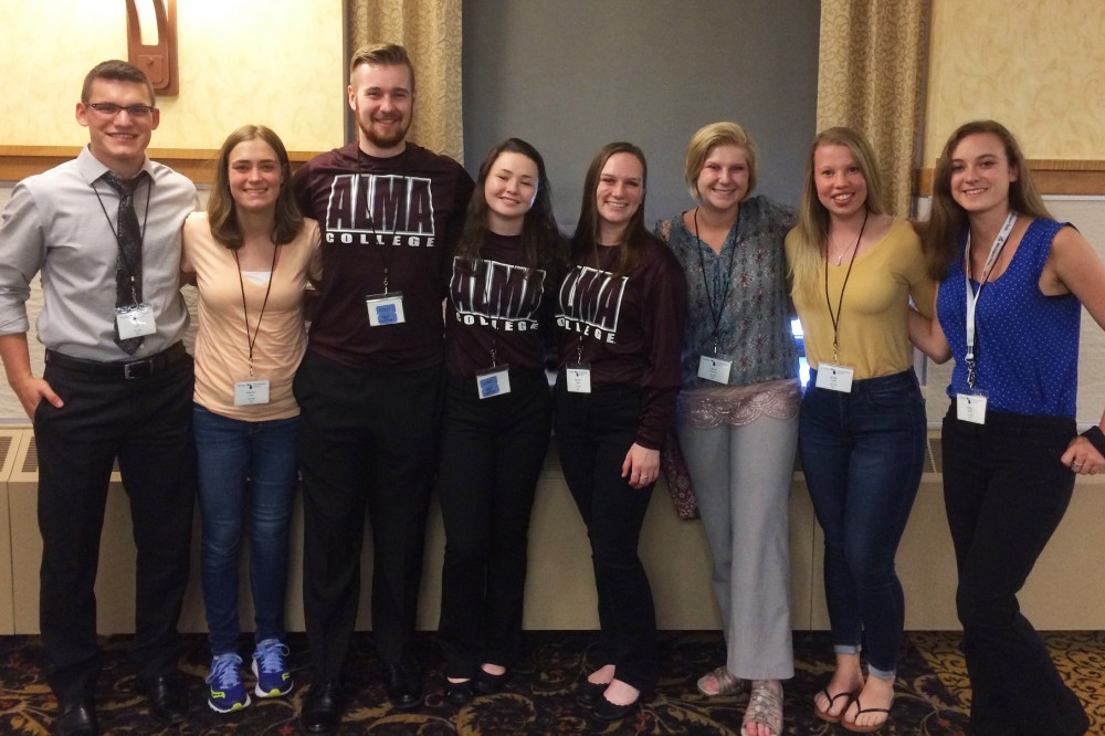 Alma students attending the Michigan Physiological Society Meeting in Houghton, Mich.