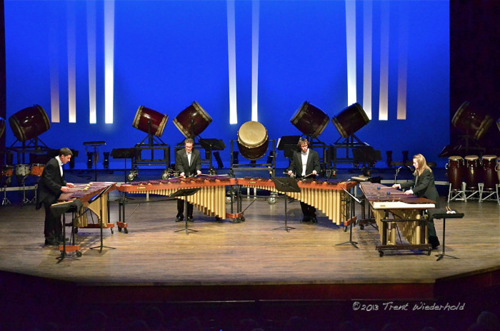 The Percussion Ensemble performs in Presbyterian Hall.