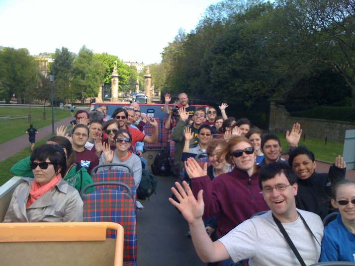 to sing on a double-decker bus in Edinburgh!