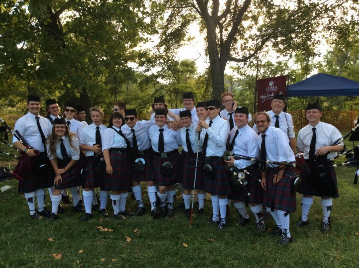 The Pipe Band competed at the 2014 Highland Games in St. Louis, MO, on September 27. The bass and tenor drummers won best midsection.