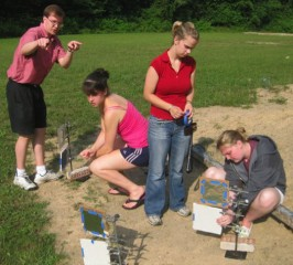 An ASPIRE/PRISM group sets up targets to detect debris from a simulated asteroid impact.