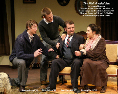 The Whiteheaded Boy by Lennox Robinson.  Directed by Joe Jezewski.  Scene Design by Brandon Newton '13, Lighting Design by Michael C. Sheldon, Costume Design by Tina Vivian.  Featuring Raymond Antel '16, Beau Wilcox '18, Jake McAskill '15  &  Hannah Korell '15.  October 2014.