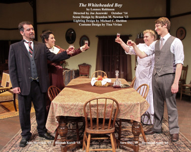 The Whiteheaded Boy by Lennox Robinson.  Directed by Joe Jezewski.  Scene Design by Brandon Newton '13, Lighting Design by Michael C. Sheldon, Costume Design by Tina Vivian.  Featuring Jake McAskill '15, Hannah Korell '15, Sara Day '15  &  Raymond Antel '16.  October 2014.