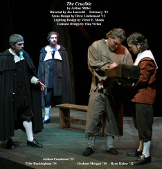 The Crucible by Arthur Miller.  Directed by Joe Jezewski.  Featuring Tyler Buckingham '14, Joshua Cousineau '12, Graham Morgan '14  &  Ryan Kaiser '12.  February 2012.