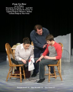 From Up Here by Liz Flahive. Directed by Tara Riedel '13. Scene Design by Brandon Newton '13, Lighting Design by Michael C. Sheldon, Costume Design by Tina Vivian. Featuring Hannah Korell '15, Jake McAskill '15 & Tony Garza '17. April 2015.