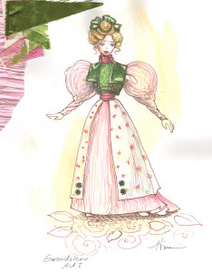 Tina Vivian Costume Design for Gwendolen in The Importance of Being Earnest, April 2013.