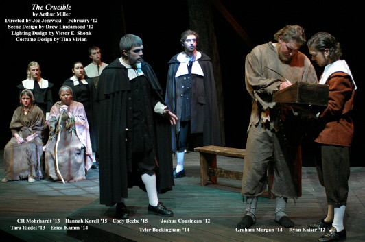 The Crucible by Arthur Miller.  Directed by Joe Jezewski.  John Proctor signs his confession.  February 2012.