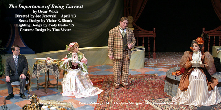 The Importance of Being Earnest by Oscar Wilde.  Directed by Joe Jezewski.  Featuring Jake Armentrout '15, Emily Roberge '14, Graham Morgan '14  &  Hannah Korell '15.  April 2013.