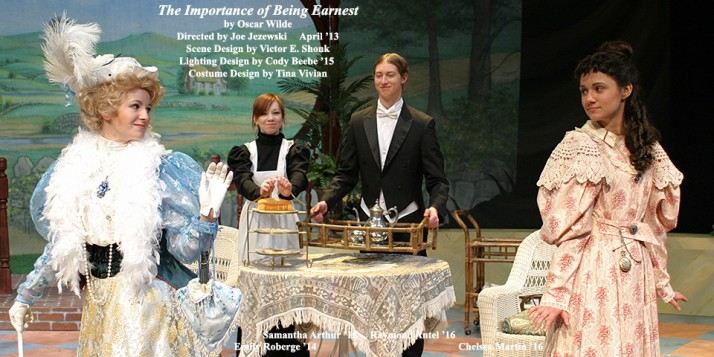 The Importance of Being Earnest by Oscar Wilde.  Directed by Joe Jezewski.  Featuring Emily Roberge '14, Samantha Arthur '15, Raymond Antel '16  &  Chelsea Martin '16.  April 2013.