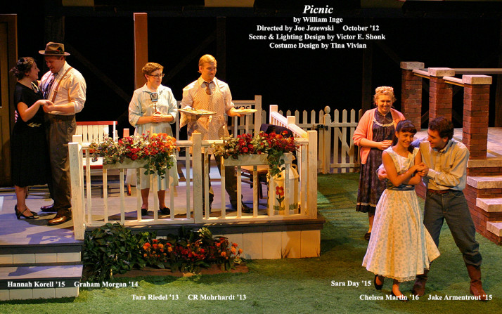 Picnic by William Inge.  Directed by Joe Jezewski.  Featuring Hannah Korell '15, Graham Morgan '14, Tara Riedel '13, CR Mohrhardt '13, Sara Day '15. Chelsea Martin '16  &  Jake Armentrout '15.  October 2012.