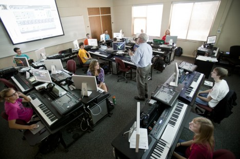 Learn music production, mixing and sound design in our MIDI lab inside the Eddy Music Center.