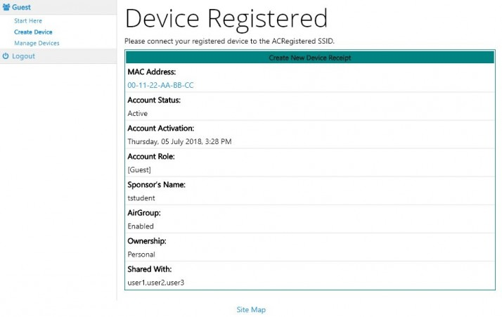 Device Registered screen