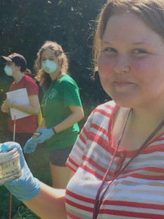 Incoming freshmen participate in a forensic anthropology experiment.