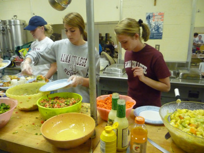 Anthropology students working at Community Cafe.