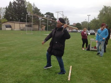 Anthropology club hosted an atlatl and dart throwing exhibition at homecoming 2015.
