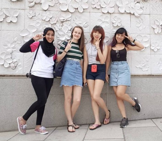 Reanna Averill with friends in South Korea.