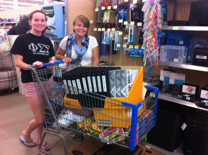 Hispanic Coalition (HisCo) President and Vice President shop for school supplies for local migrant children