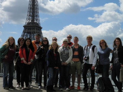 Alma students in front of the Eiffel Tower in Paris.
