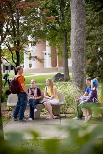 Students outside the Dunning Memorial Chapel.