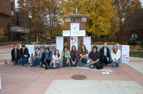 Students reconstruct the Berlin Wall at Alma College