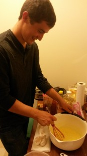 Luke enjoys baking a Nachtisch for the German cooking night