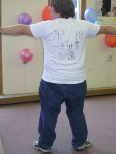 Ryan enjoyed learning Chinese and was proud of showing his new T-shirt
