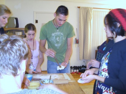 Students in Chinese 111 learned how to make dumplings in Dr. Liu's home