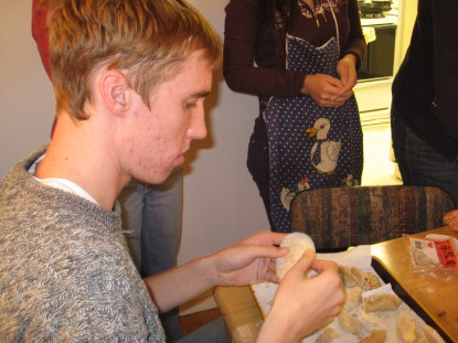 Eric Glenn was learning how to make dumplings. Currently he is a graduate student at Princeton University.