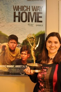 "Stephany Slaughter with her Emmy for the documentary ""Which Way Home."""
