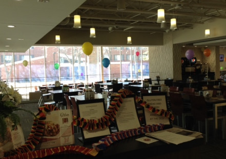 The whole dinning hall was decorated with flyers and Ballons