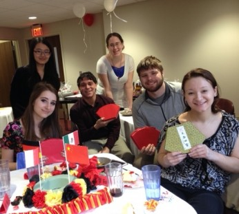 Advanced Chinese students are happy with their presents: a calligraphy set!