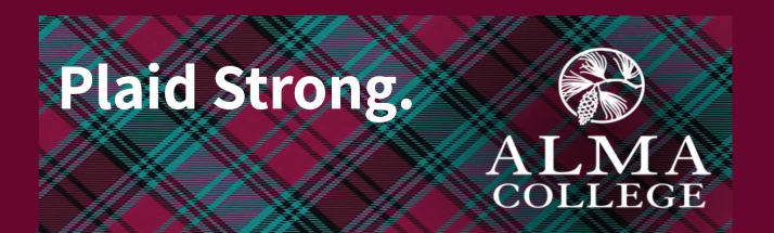 Plaid Strong.  Alma College Logo.